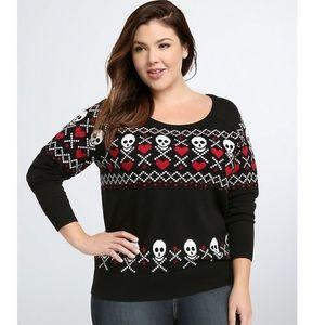 Torrid Fair Isle Skull Heart Sweater 3X